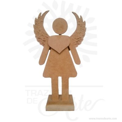 Figura ángel mujer en madera MDF 18 mm de 27 x 15,5 x 6 cm, figura decorativa de un bonito ángel plantado con sus alas abiertas y acompañado con un llamativo corazón aportando un toque muy especial a la decoración.Son recordatorios muy especiales ideal para adornos en bodas, bautizos, fiestas infantiles, cumpleaños y todo tipo de eventos.Estas bonitas figuras de ángel con alas son un regalo encantador o una decoración perfecta para el hogar, lo puedes personalizar con tu nombre, tus iniciales o algún diseño especial.Este es un maravilloso regalo, suvenir; empresarial o para amigos y familiares.Unángeles un sersobrenatural, inmaterial o espiritual cuyos deberes son asistir y servir aDios.Los ángeles son a menudo representados como mensajeros de Dios en la Biblia.Son considerados como criaturas de gran pureza destinadas en muchos casos a la protección de los seres humanos.Hermosos recuerdo de comunión, bautizo, baby shower, nacimiento, son en madera MDF de excelente calidad, todos se pueden grabar.En la actualidad se utilizan diariamente comomerchandisingpublicitario por parte de marcas o accesorio por jóvenes, y se encuentran en distintos estilos, formas y decoración.Tenga en cuenta que la madera es un material único, por lo que cuándo lo reciba será similar, no exactamente al de la foto.Figura ángel mujer en madera MDF 18 mmMaterial: MDF de 18 mm de alta calidadColor: Descripción en fotoTamaño 27 x 15,5 x 6 cmFecha estimada de entrega: De 5 a 7 días hábiles (en Bogotá, Medellín, Cali), al resto del país de 7 a 14 días.Recuerda que el tiempo de entrega comienza a partir del momento en que tu pago sea confirmado.Todos los productos son entregados al domicilio que informaste al realizar la compra.Vendido y enviado por: Trazos de Arte.Envió rápido y seguro.PersonalizaciónRealice un pedido personalizado, podemos agregar lo que desee, como nombre, fecha, frase, logotipo, imagen o empaque regalo.Ofrecemos: Grabado por láser, grabado CNC Router, sublimado o papel adhesivo, 