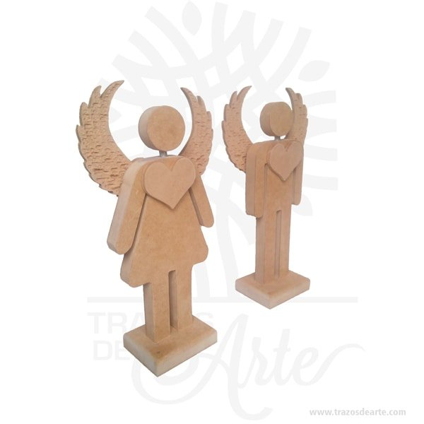 Figuras pareja de ángeles en madera MDF 18 mm de 27 x 15,5 x 6 cm C/U, figuras decorativas de ángeles plantado con sus alas abiertas y acompañados con un llamativo corazón aportando un toque muy especial a la decoración.Son recordatorios muy especiales ideal para adornos en bodas, bautizos, fiestas infantiles, cumpleaños y todo tipo de eventos.Estas bonitas figuras de ángel con alas son un regalo encantador o una decoración perfecta para el hogar, lo puedes personalizar con tu nombre, tus iniciales o algún diseño especial.Este es un maravilloso regalo, suvenir; empresarial o para amigos y familiares.Unángeles un sersobrenatural, inmaterial o espiritual cuyos deberes son asistir y servir aDios.Los ángeles son a menudo representados como mensajeros de Dios en la Biblia.Son considerados como criaturas de gran pureza destinadas en muchos casos a la protección de los seres humanos.Hermosos recuerdo de comunión, bautizo, baby shower, nacimiento, son en madera MDF de excelente calidad, todos se pueden grabar.En la actualidad se utilizan diariamente comomerchandisingpublicitario por parte de marcas o accesorio por jóvenes, y se encuentran en distintos estilos, formas y decoración.Tenga en cuenta que la madera es un material único, por lo que cuándo lo reciba será similar, no exactamente al de la foto.Figuras pareja de ángeles en madera MDF 18 mmMaterial: MDF de 18 mm de alta calidadColor: Descripción en fotoTamaño 27 x 15,5 x 6 cm C/UFecha estimada de entrega: De 5 a 7 días hábiles (en Bogotá, Medellín, Cali), al resto del país de 7 a 14 días.Recuerda que el tiempo de entrega comienza a partir del momento en que tu pago sea confirmado.Todos los productos son entregados al domicilio que informaste al realizar la compra.Vendido y enviado por: Trazos de Arte.Envió rápido y seguro.PersonalizaciónRealice un pedido personalizado, podemos agregar lo que desee, como nombre, fecha, frase, logotipo, imagen o empaque regalo.Ofrecemos: Grabado por láser, grabado CNC Router, sublimado o