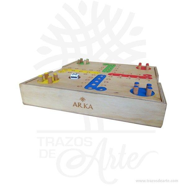 Ludo Parchís Juego de Mesa de Madera de Pino, es un juego de estrategia para 2-3-4 jugadores, viene con un tablero anti-vibración que se incrusta en la tapa, juego de mesa que mejora tu razonamiento, atención y manera de pensar lógica, se puede personalizar. ¡Entrena tu destreza mental de una manera divertida! Ideal para viajes las fichas se quedan fijas en el tablero. Es un juego de diversión agradable . El juego se compone de un tablero de madera, 16 fichas de 4 colores y un dado. El objetivo es desplazar las 4 fichas hacia la columna final «Casa» (en el medio) que corresponde al color. Ludo Parchís Juego de Mesa de Madera de Pino Tamaño 24 × 24 x 4 cm. Material: Pino de alta calidad de 12 mm. Tapa en triple de pino de 6,5 y triplex de Okume de 3,2 mm. Color: Descripción en foto. Pintado a mano. Este producto puede ser personalizado. El precio no incluye personalización. Fecha estimada de entrega: De 3 a 5 días habiles (en Bogotá, Medellín, Cali), al resto del país de 5 a 14 días. Vendido y enviado por: Trazos de Arte. Envió rápido y seguro. Personalización Realice un pedido personalizado, podemos agregar lo que desee, como nombre, fecha, frase, logotipo, imagen o empaque regalo. Ofrecemos: Grabado por láser, grabado CNC Router, sublimado o papel adhesivo, el precio varía según el tipo de personalización que desee, encontrara más información enServiciosen nuestro menú secundario. Si desea cotizar o tiene preguntas presione el botónCotizar personalizacióncon gusto las responderemos.