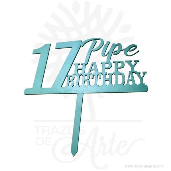 """Cake Topper personalizados para tortas, fiestas y eventos en MDF pintado, perfecto para decorar tortas en bodas, cumpleaños, quince años, bautismos, comuniones, baby shower , aniversarios y eventos tanto familiares como de empresas. Es un adorno de pastel es un modelo pequeño que se sienta encima de un pastel, normalmente una representación de la ceremonia, una silueta, una palabra, una fecha o un numero. Ponle un toque especial y mucho más bonito con nuestros adornos Adornos para torta, hermosos diseños personalizadosy color a elección oro, plata, azul, rosa, rojo, negro, rosa Dios pastel Topper. Fabricados en MDF 3 mm, cubiertos con vinilo en ambas caras Cake Topper personalizados Material: MDF de 3mm de espesor Color: A elegir. Tamaño 25 x 25 x 0,3 cm Fecha estimada de entrega: De 5 a 7 días hábiles (en Bogotá, Medellín, Cali), al resto del país de 7 a 14 días. Recuerda que el tiempo de entrega comienza a partir del momento en que tu pago sea confirmado. Todos los productos son entregados al domicilio que informaste al realizar la compra. Vendido y enviado por: Trazos de Arte. Envió rápido y seguro. Personalización Realiza un pedido personalizado, podemos agregar lo que desees, como nombre, fecha, frase, logotipo, imagen o empaque regalo. Ofrecemos: Grabado por láser, grabado CNC Router, sublimado o papel adhesivo, el precio varía según el tipo de personalización que desees, encontrarás más información en """"Servicios""""en nuestro menú secundario. Si deseas cotizar o tienes preguntas presiona el botónCotizar personalizacióncon gusto las responderemos. ¿Cómo comprar? Selecciona tu producto. Si tienes alguna duda por favor escríbenos. Haz clic en el botón de compra y la cantidad que deseas. Ingresa los datos de facturación y entrega. Realiza el pago de tu pedido. Recibe el pedido en tu domicilio."""